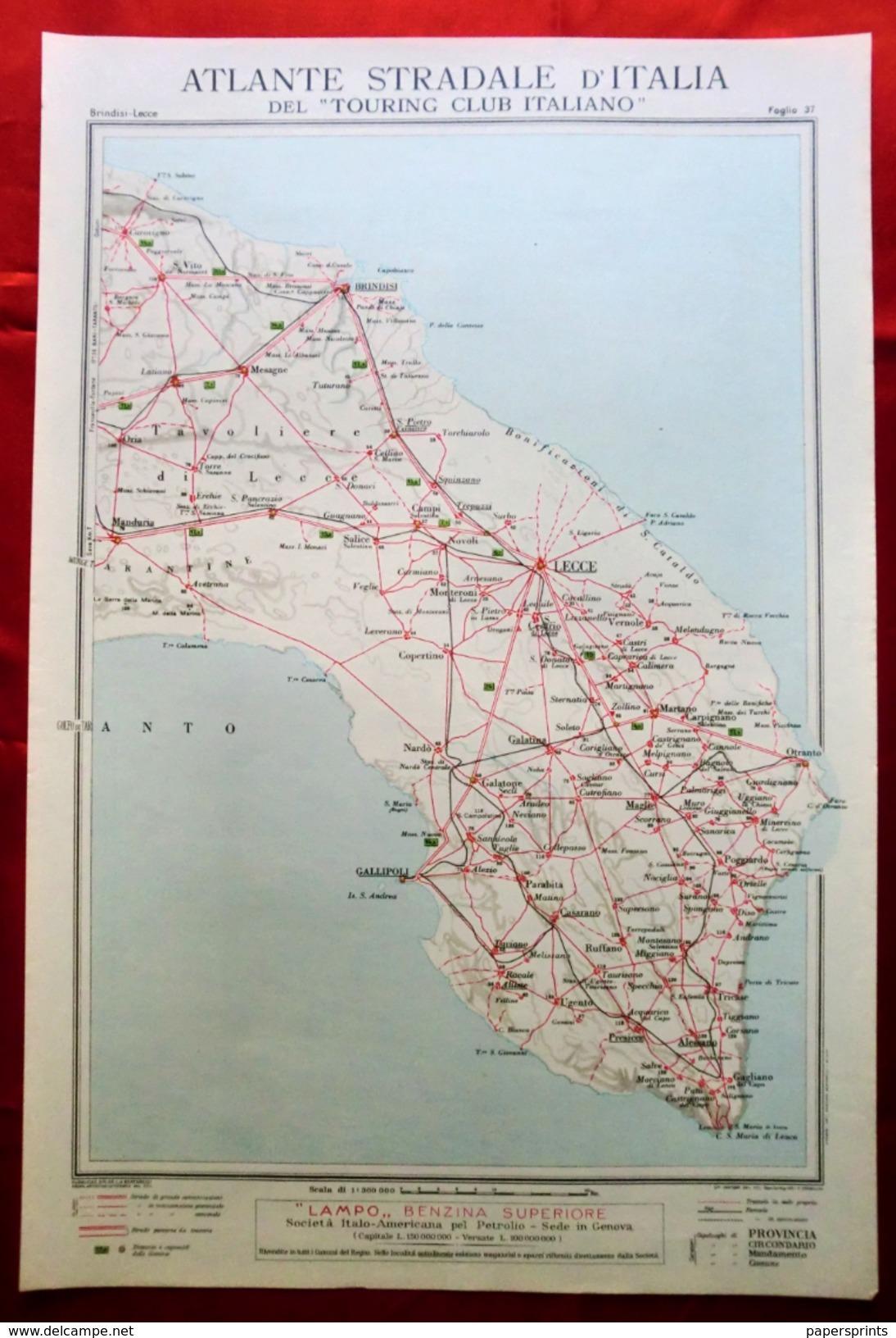 Foglio 37, Brindisi - Lecce, ATLANTE STRADALE D'ITALIA Touring Club Italiano 1923-26 (Dir. L. V. Bertarelli) - Carte Stradali