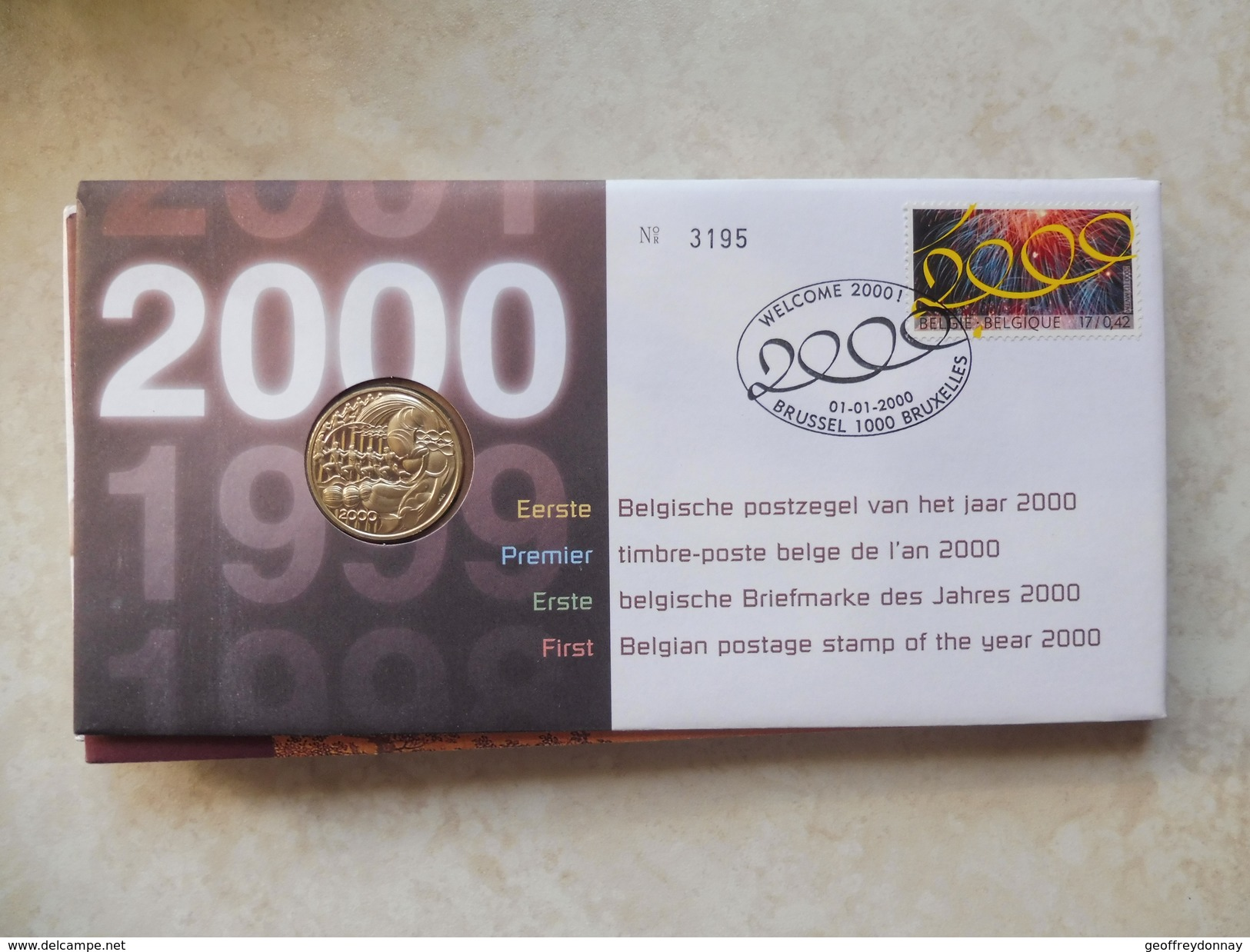 Enveloppe Numismatique Belgique Belgie Premier Timbre Poste De L'an 2000 - Belgique