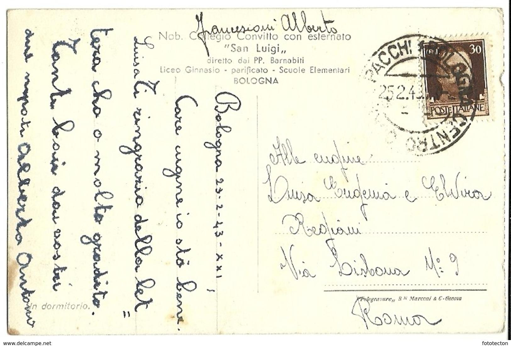 Bologna - Collegio Convitto San Luigi - Dormitorio - 1943 - Scuola - Bologna