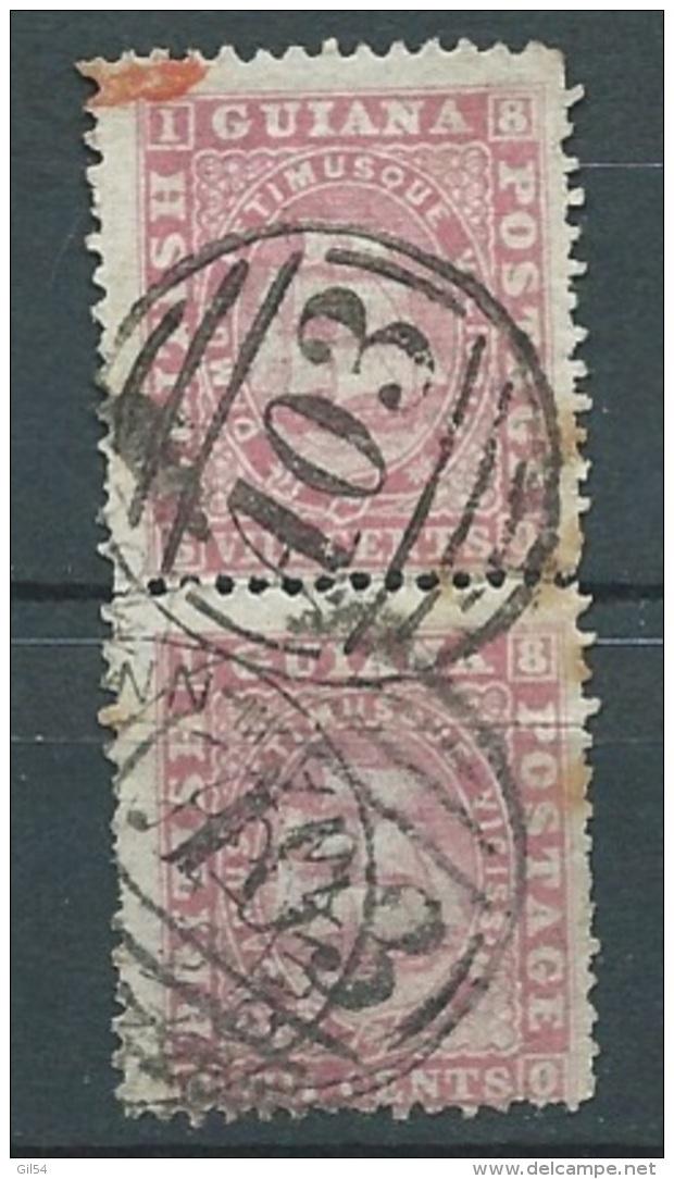 Guyane Anglaise  - N° 17 Oblitéré , Paire Verticale Dentele 12,5 X 13  - Ah201 - Guyane Britannique (...-1966)