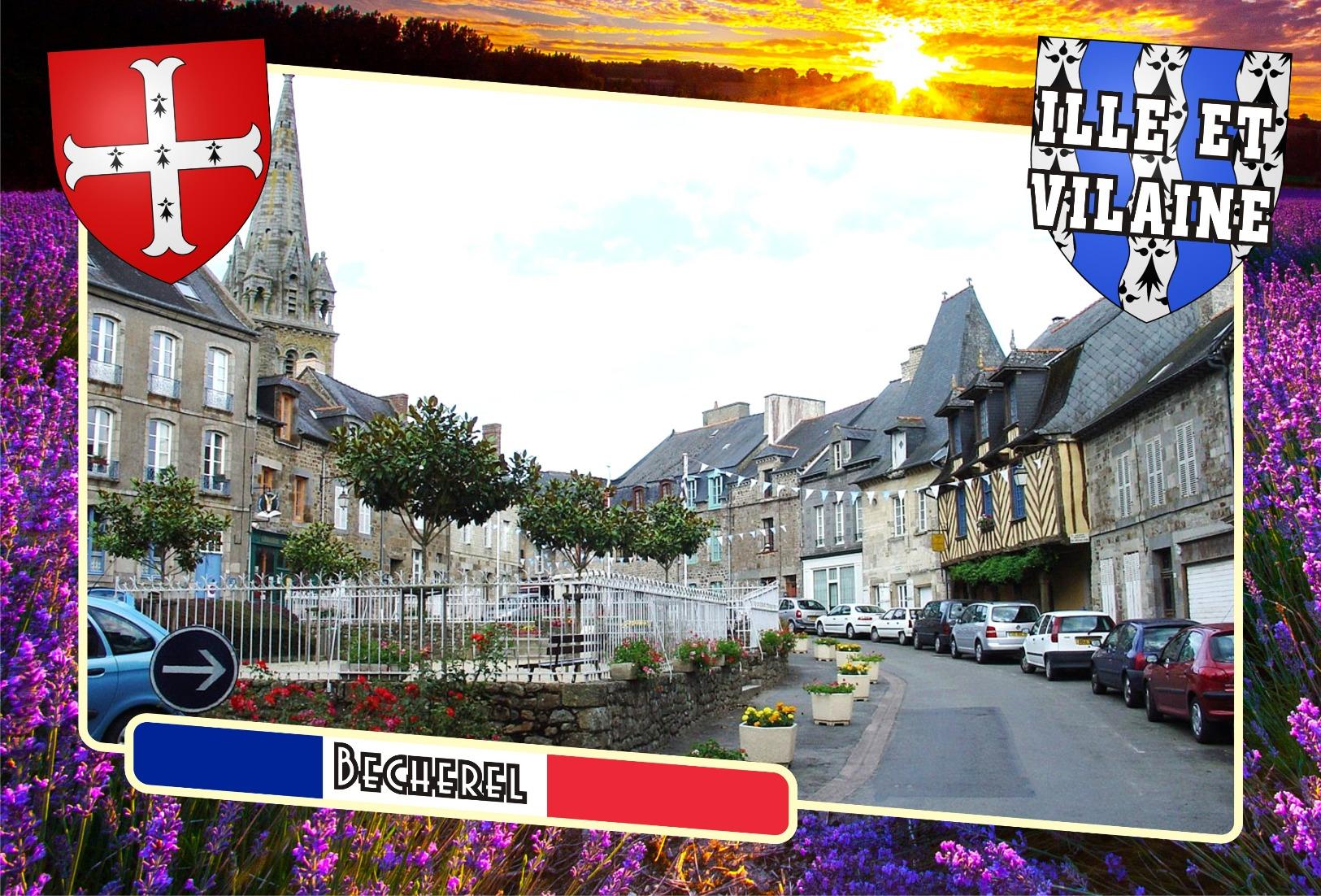Postcard, Communes Of France, Becherel, Ille-et-Vilaine - Mapas