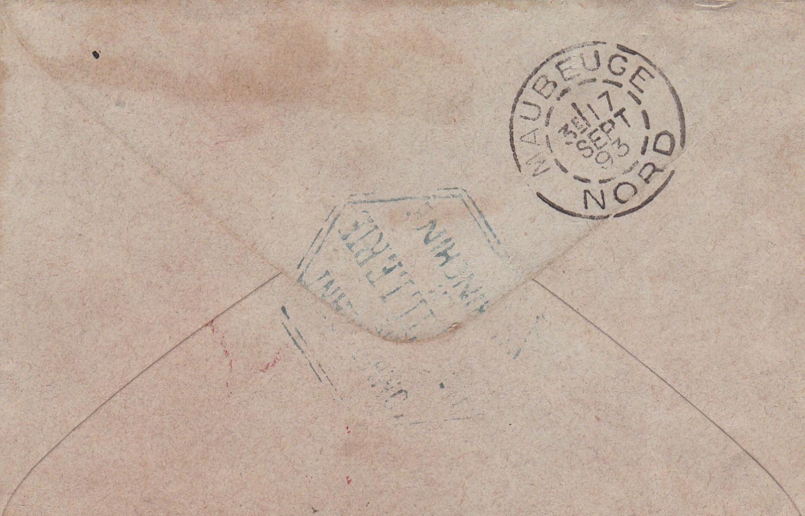 "INDOCHINE  :  "" CORRESPONDANCE  DES  ARMEES  -  SAIGON  ""  1893 -  SUR ENTIER SAGE 15 C . SUPERBE . (  2 SCANS R° V° ) . - Indochine (1889-1945)"