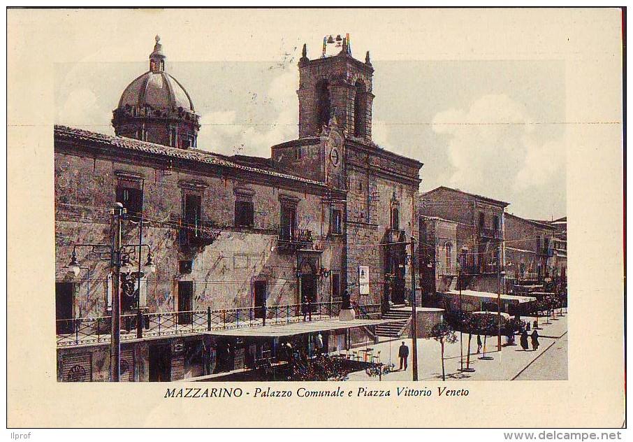 Mazzarino Piazza E Municipio  Anni '50 - Italia