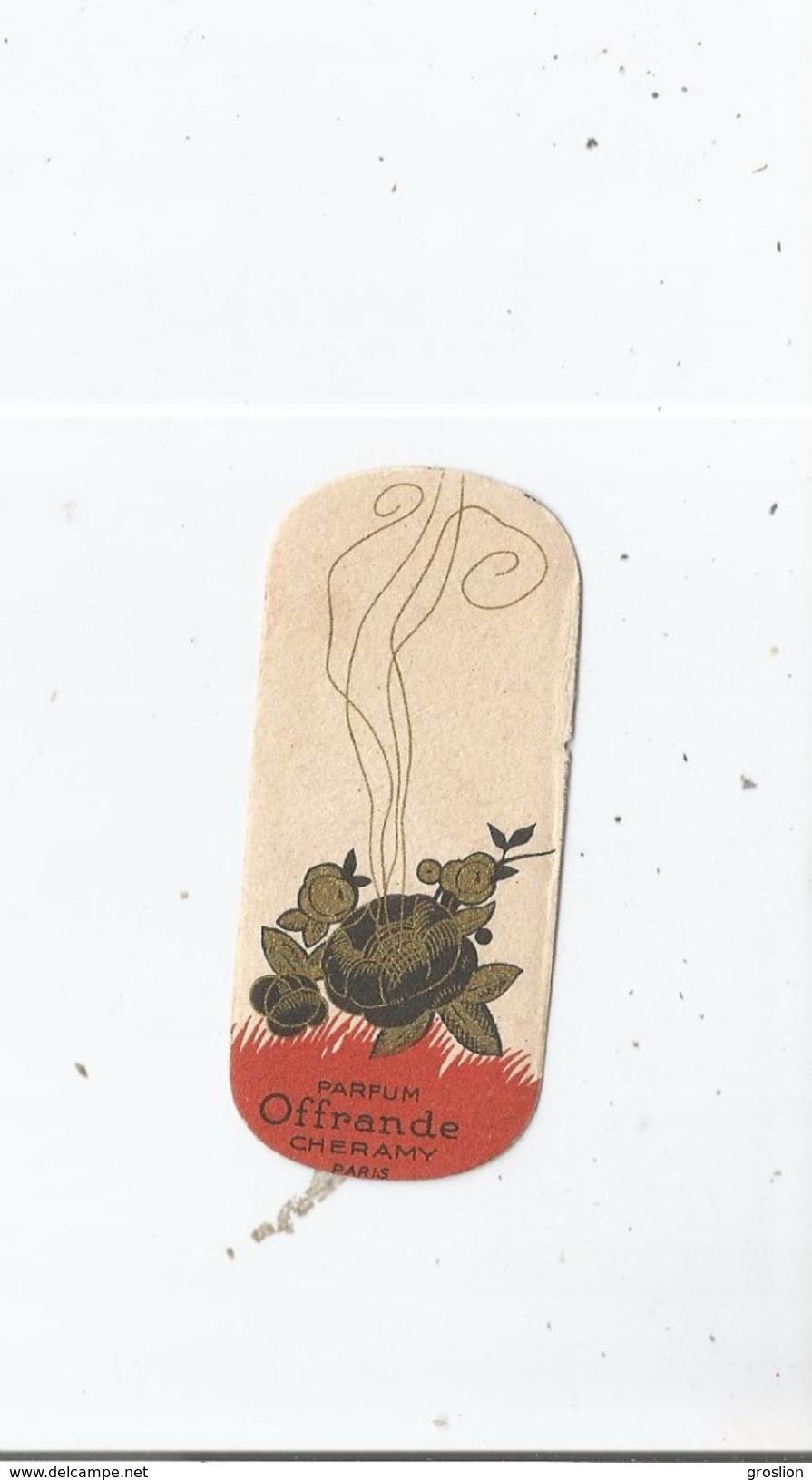 CARTE PARFUMEE ANCIENNE OFFRANDE DE CHERAMY PARIS - Perfume Cards