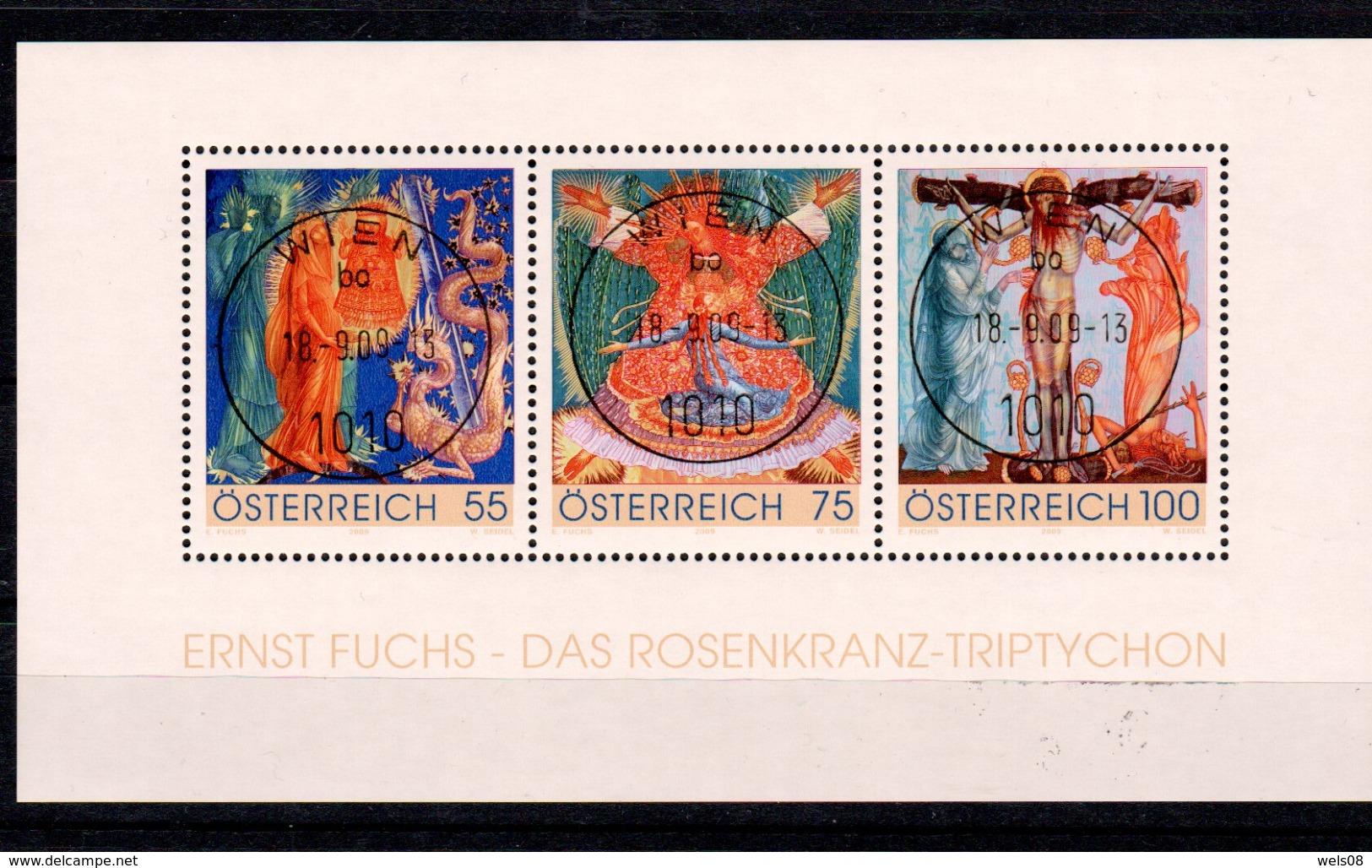 """Österreich 2009: Block  """"Rosenkranz-Triptychon"""" Gestempelt (siehe Scan/Foto) - 1945-.... 2. Republik"""