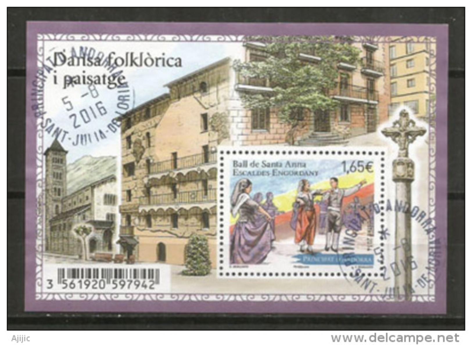 Danses Et Fête De Santa Anna En Andorre. Un BF Oblitéré, 1 ère Qualité, Cachets Ronds - Gebraucht