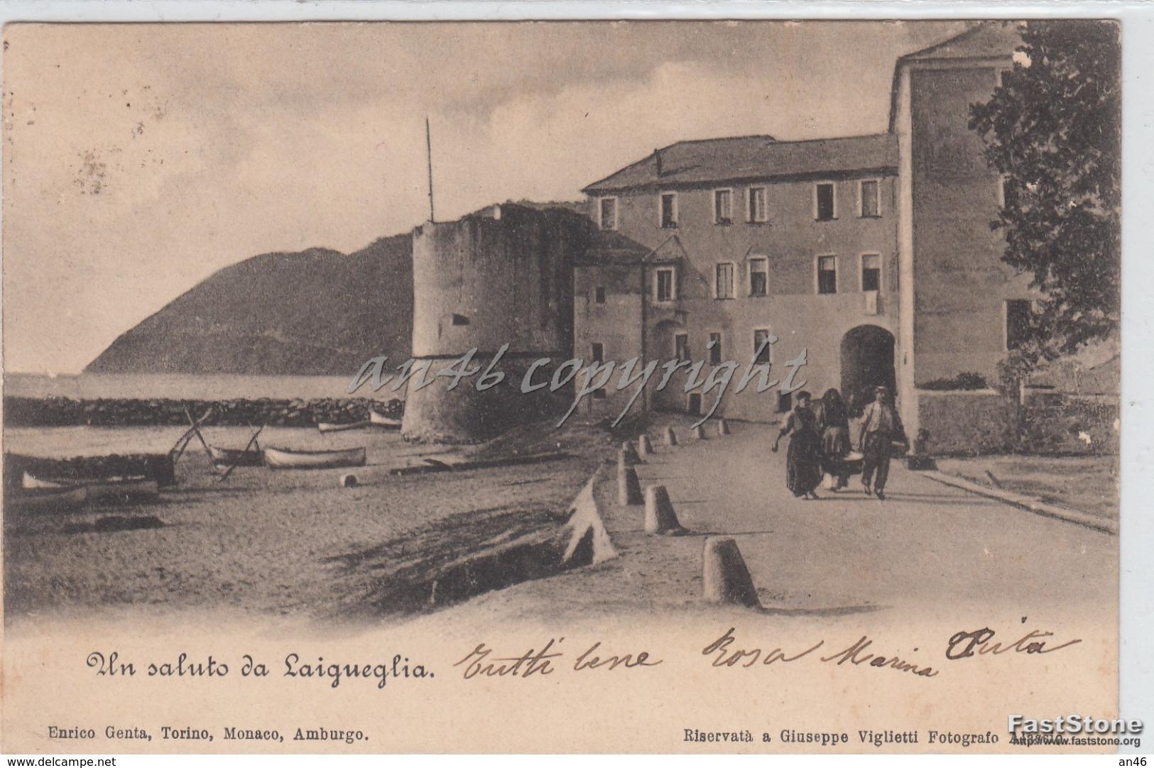 Un Saluto Da Laigueglia_-Vg -1900 Originale D´epoca 100% - Altre Città