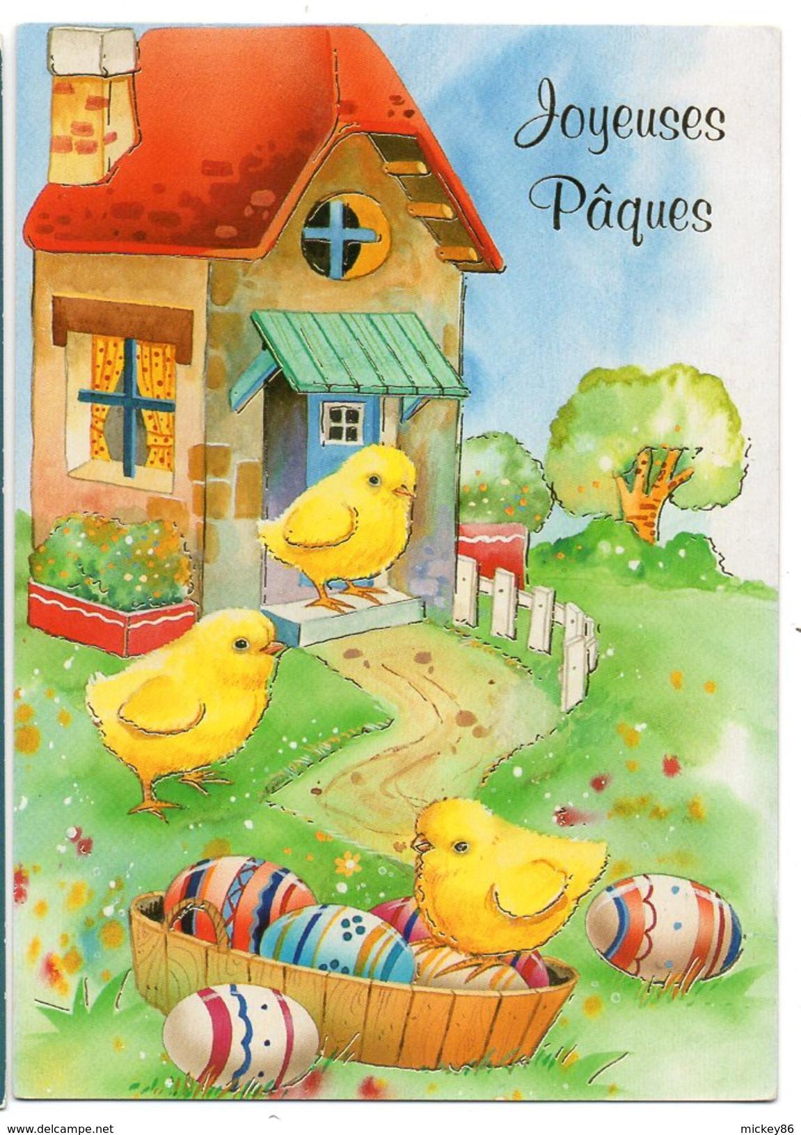 JOYEUSES PAQUES--Poussins Et Oeufs   Cpm  éd  Chromovogue.........à Saisir - Pâques