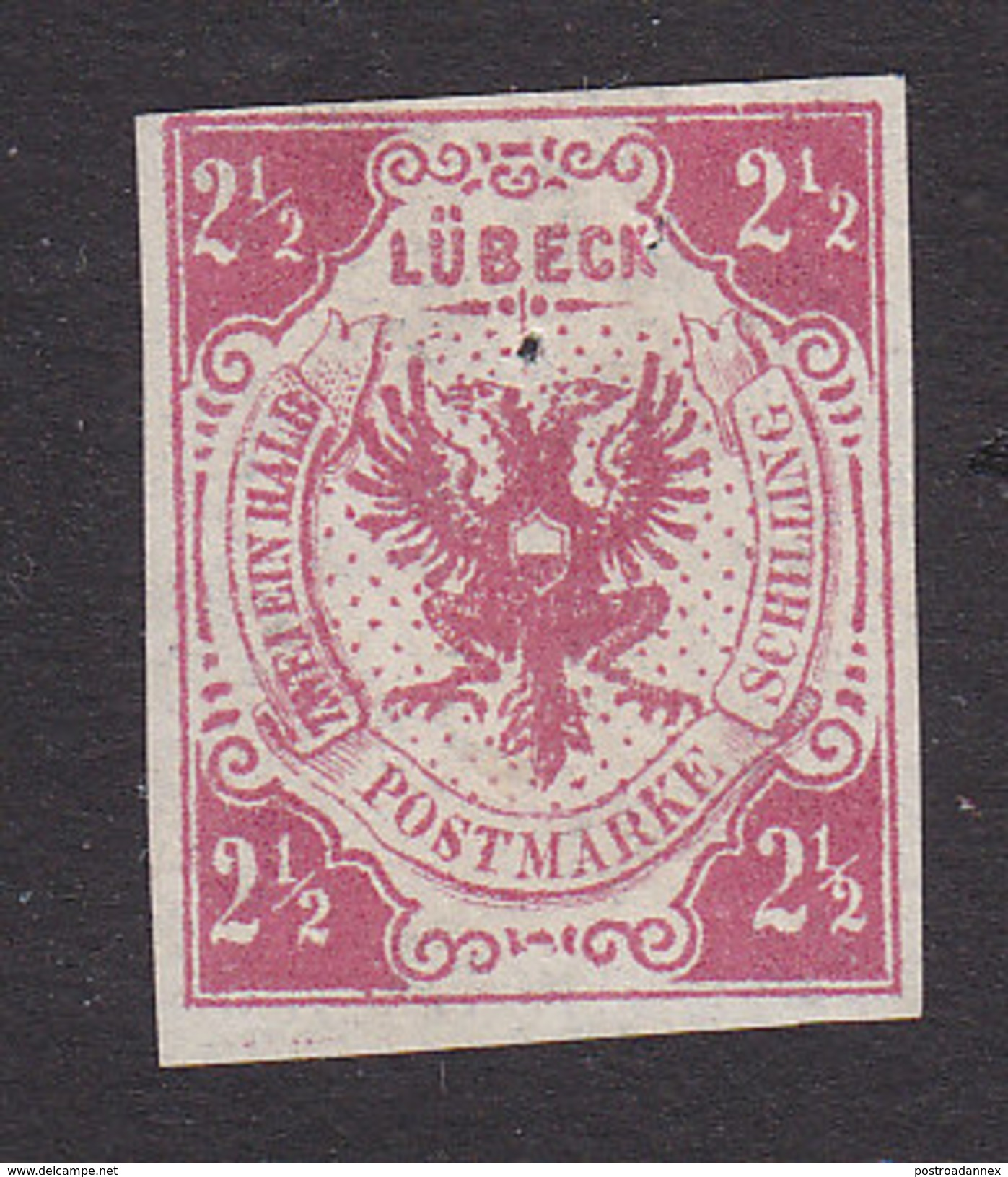 Lubeck, Scott #4, Mint No Gum, Coat Of Arms, Issued 1859 - Lubeck