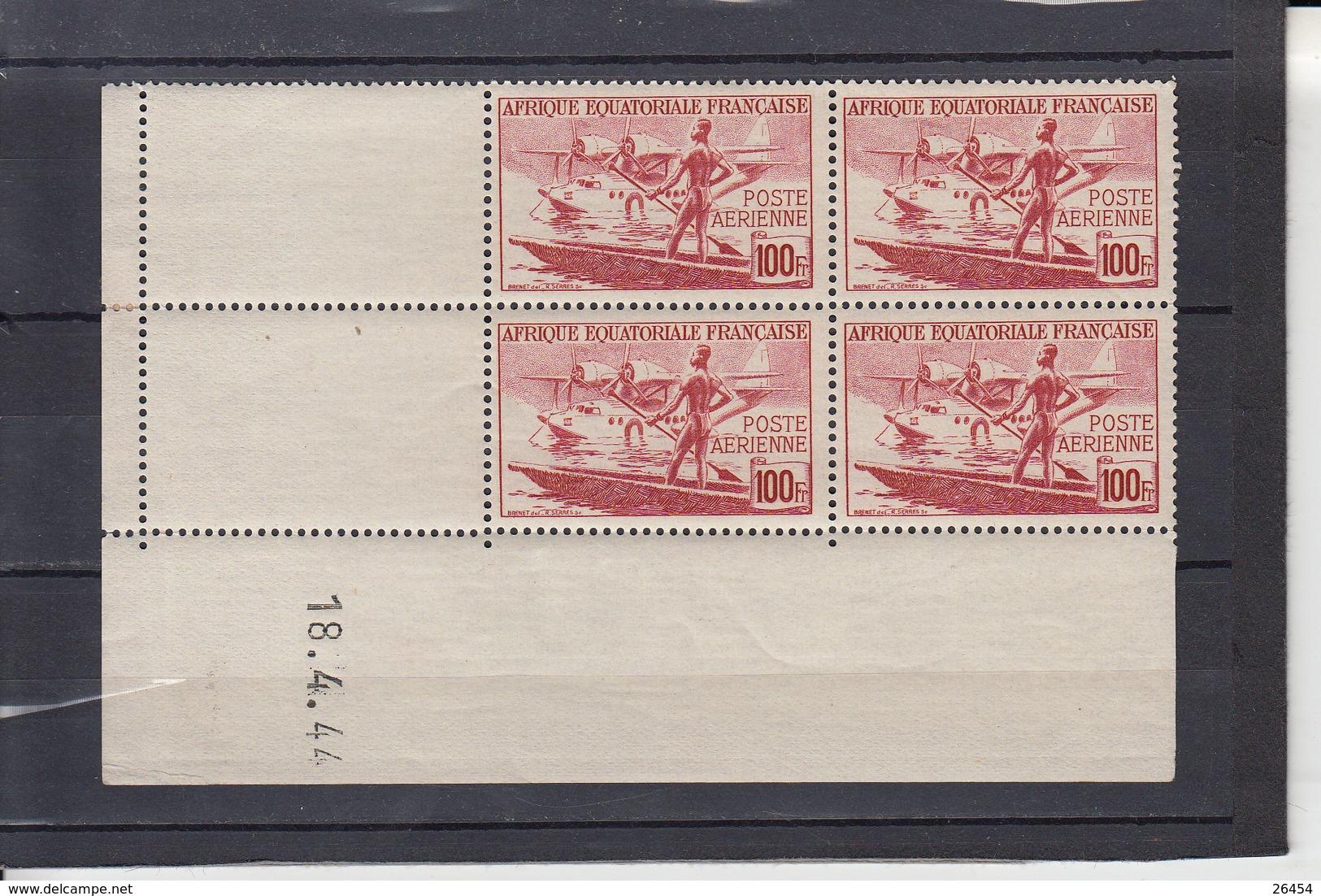 A.E.F. Poste AERIENNE  Hydravion  100F  Coins Dates Le 18 4 1944 Neuf     BLOC De 4 Timbres - A.E.F. (1936-1958)