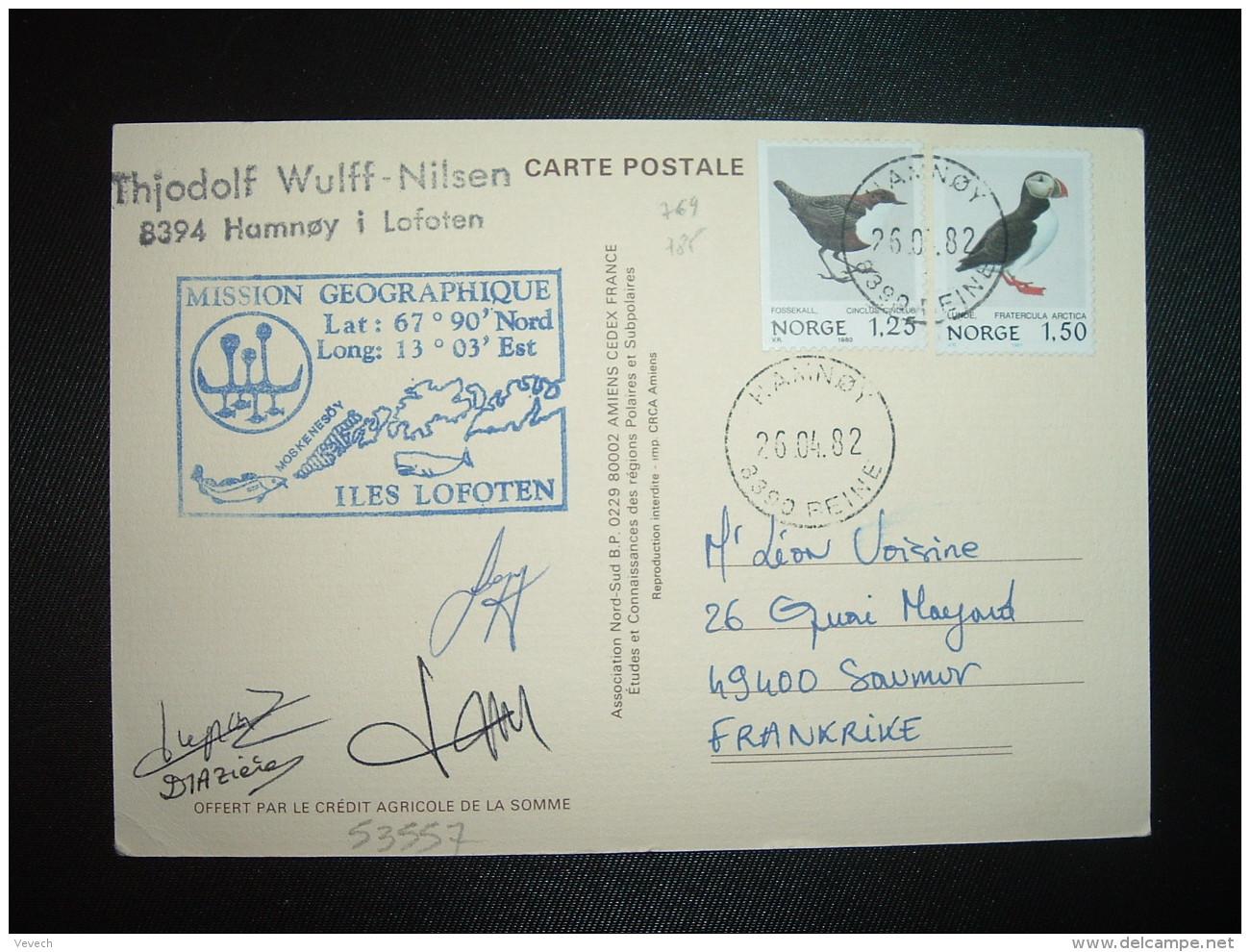 CP PAUL EMILE VICTOR 1982 TP NORGE OISEAU 1,50 + 1,25 OBL.26 04 82 HAMNOY + MISSION GEOGRAPHIQUE ILES LOFOTEN + OFFERT P - Unclassified