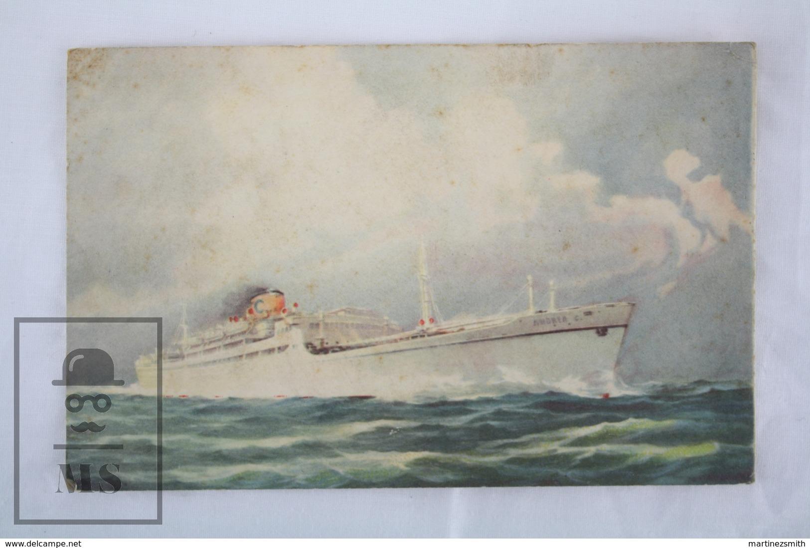 Boat/ Ship Illustrated Topic Postcard - Andrea C. Cruise Ship - Bateaux