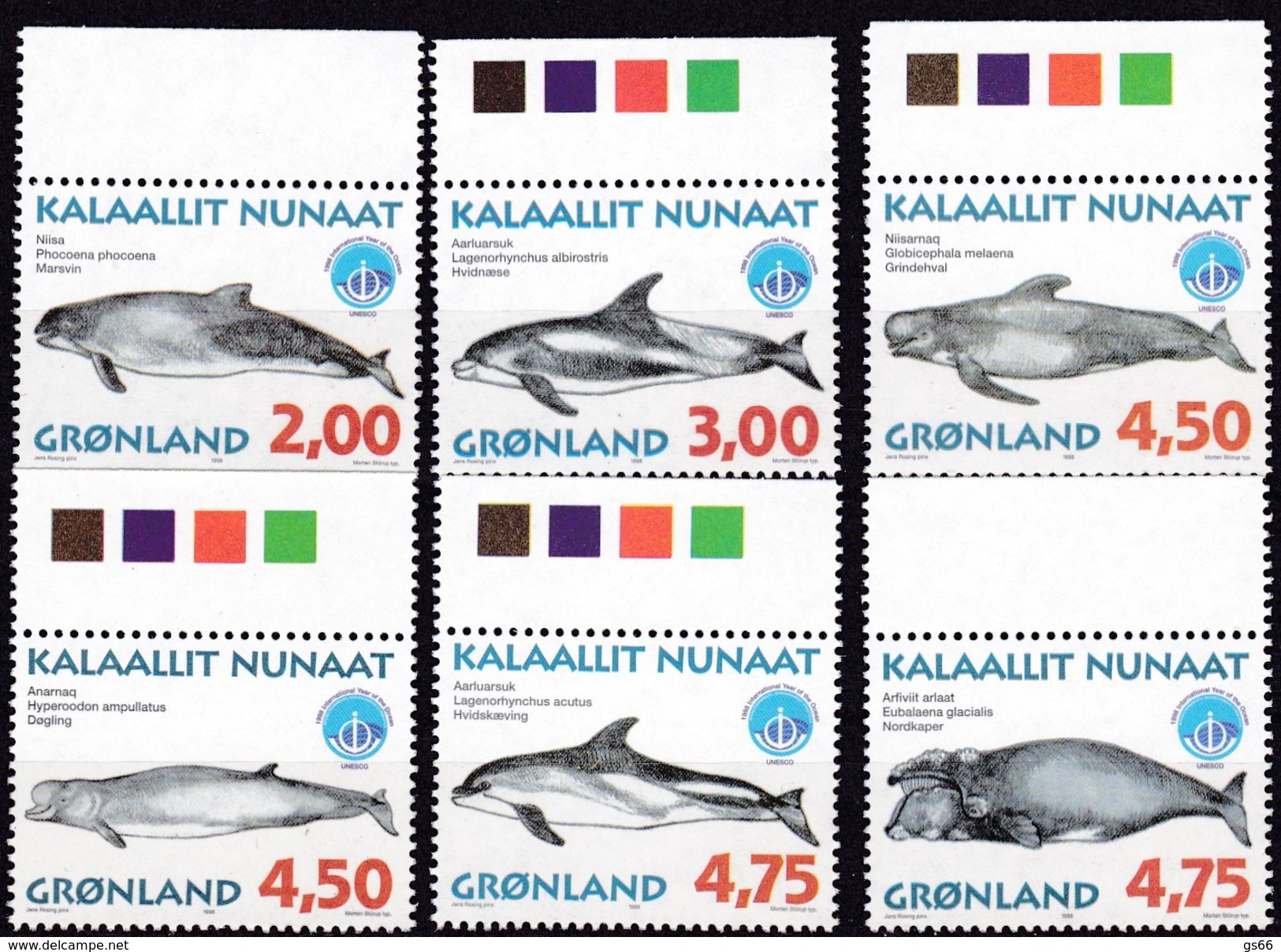 1998,  Grönland, 316/21, Wale,  MNH **, - Groenland
