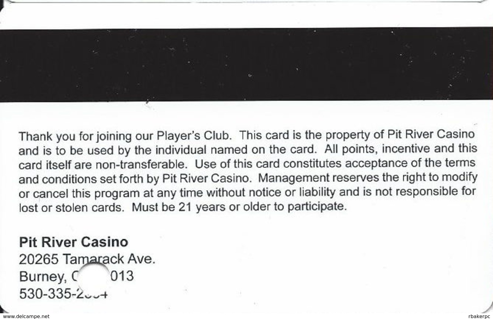 Pit River Casino - Burney, CA USA - Slot Card - Casino Cards
