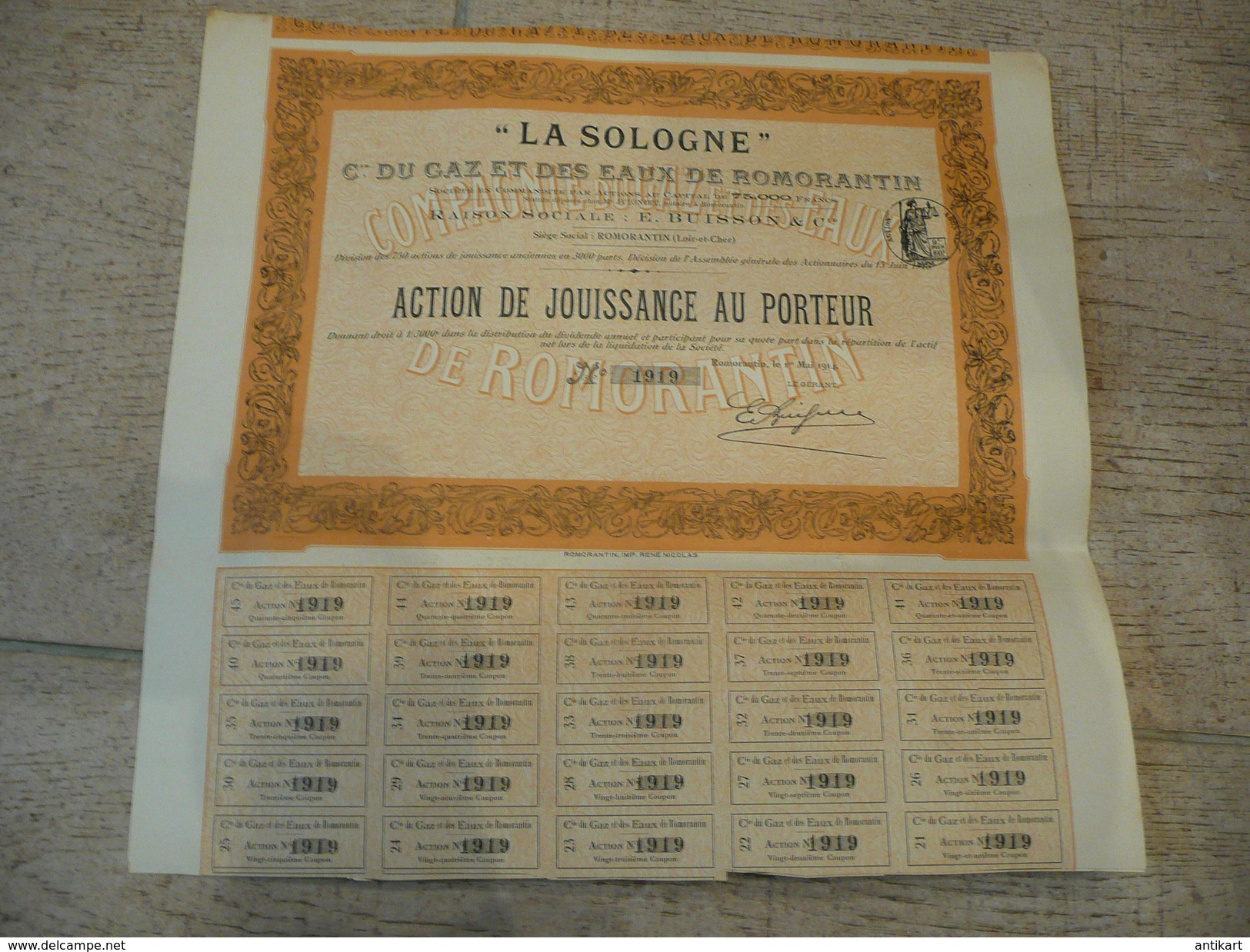 """""""La Sologne"""" Cie Du Gaz Et Des Eaux De Romorantin Action De Jouissance Au Porteur 1914 - Electricité & Gaz"""
