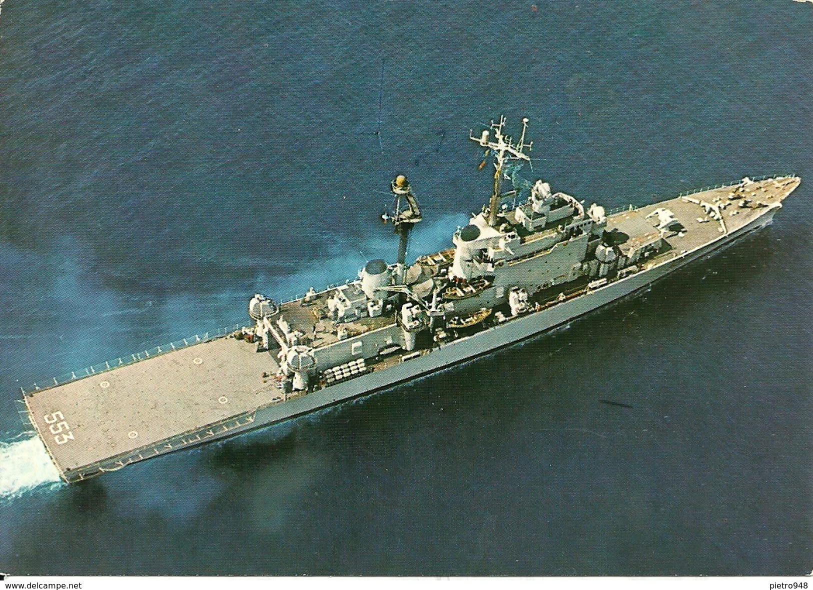 """Incrociatore """"Andrea Doria"""" 553, In Navigazione Visto Dall'alto, Marina Militare Italiana - Guerra"""