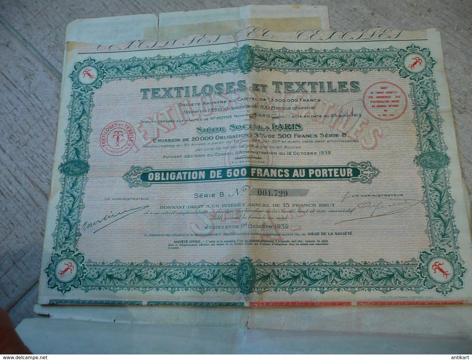 Textiloses Et Textiles Obligation De 500f - Paris 1932 - Textile