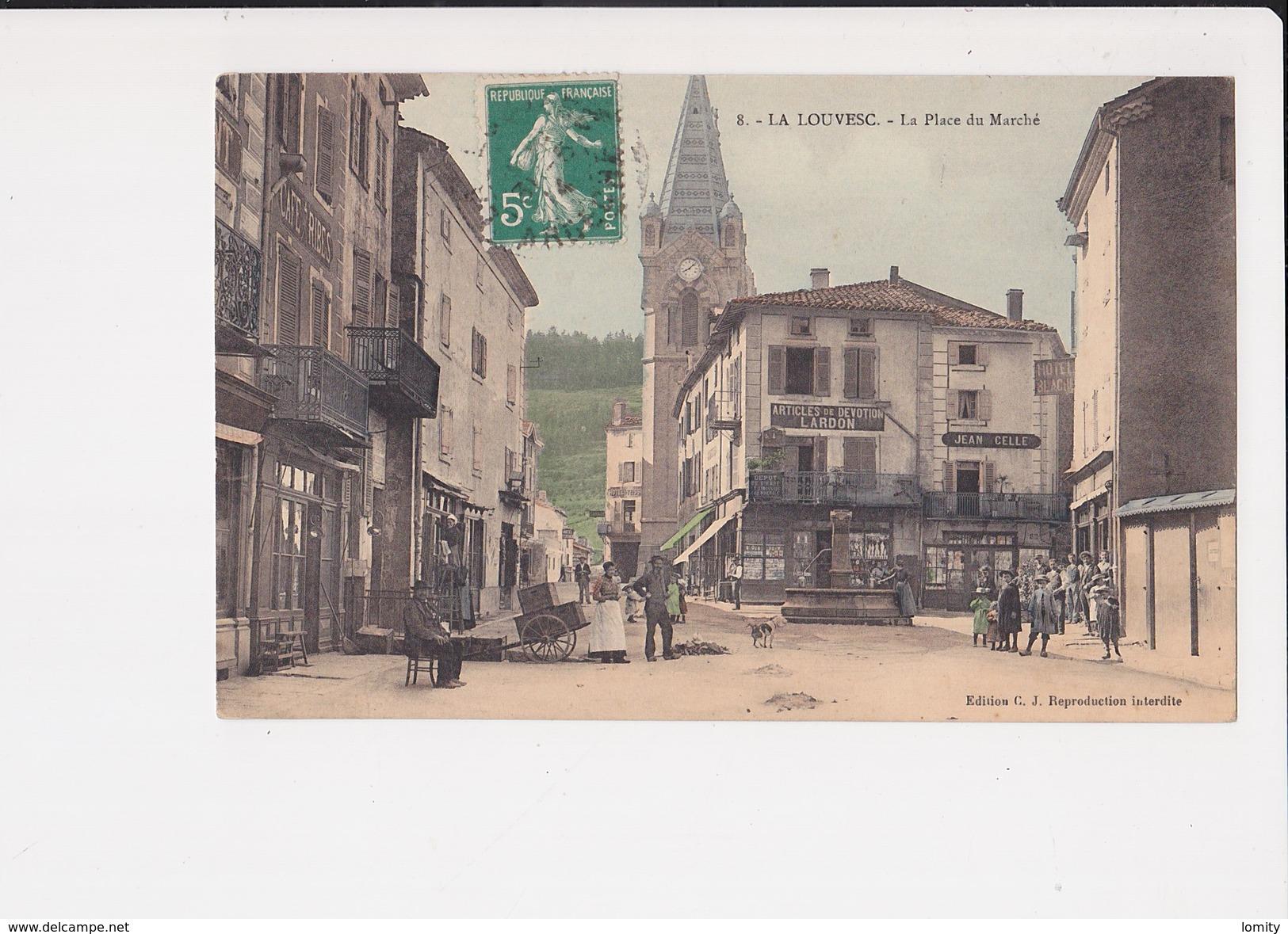 07 La Louvesc La Place Du Marché Cpa Animée Edition C.J - La Louvesc