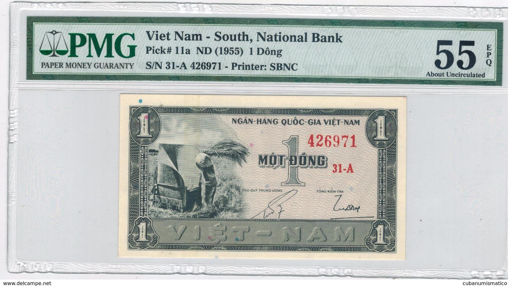 South Vietnam, 1 Dong (1955) . PMG 55. UNC. Free S/H To USA. - Vietnam