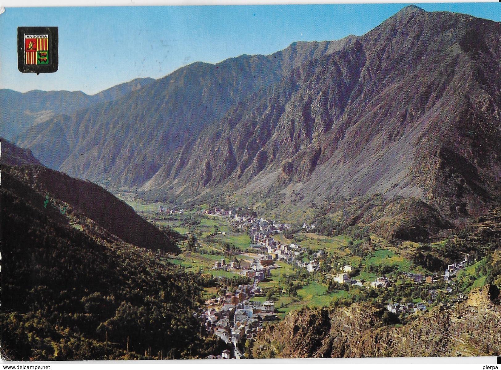 ANDORRA - PANORAMA - VIAGGIATA 1972 FRANCOBOLLO ASPORTATO - Andorra