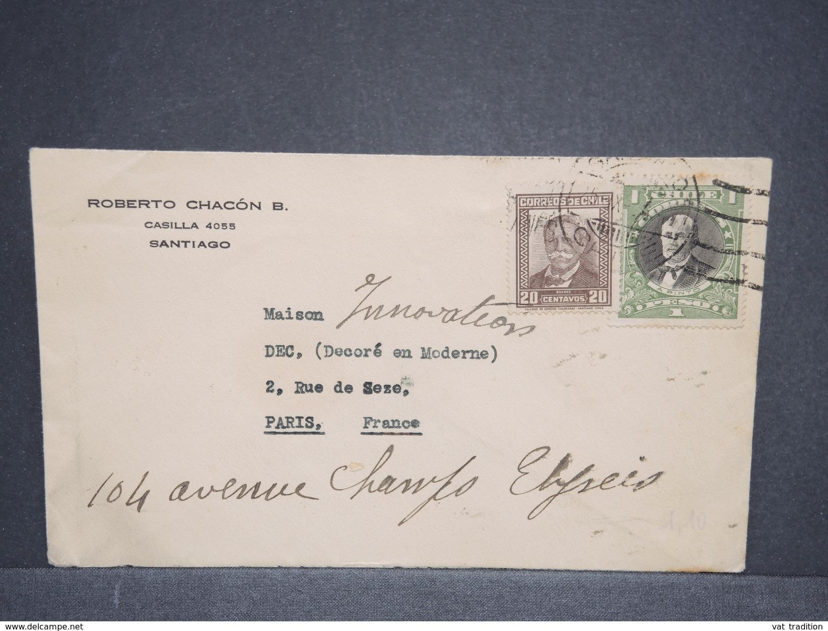 CHILI - Enveloppe De Santiago Pour Paris En 1934 , Affranchissement Plaisant - L 6383 - Chili