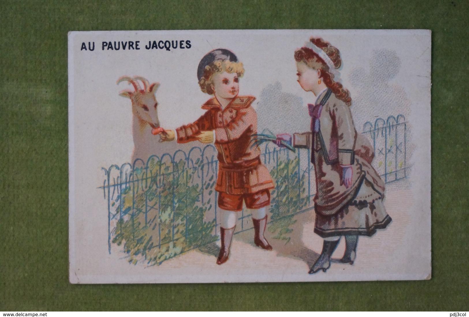 Au Pauvre Jacques - Enfants Nourissant La Chèvre - Au Verso Calendrier Semestre 1879 (Avril à Septembre- Imp. Dangivillé - Cromo