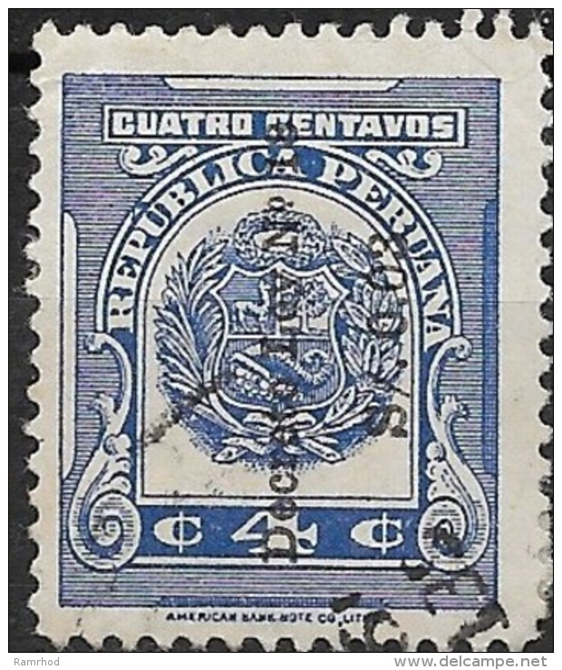 PERU 1949 Anti-tuberculosis Fund. Surcharged - 3c. On 4c. - Blue FU SOME PAPER ATTACHED - Peru