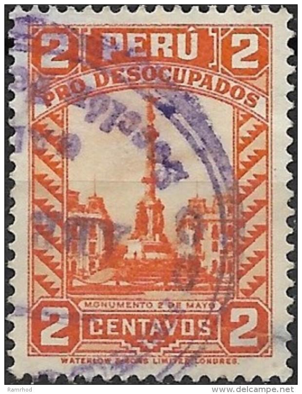 PERU 1933 Obligatory Tax. Unemployment Fund -  Monument Of 2nd May To Battle Of Callao -2c. - Orange  FU - Peru