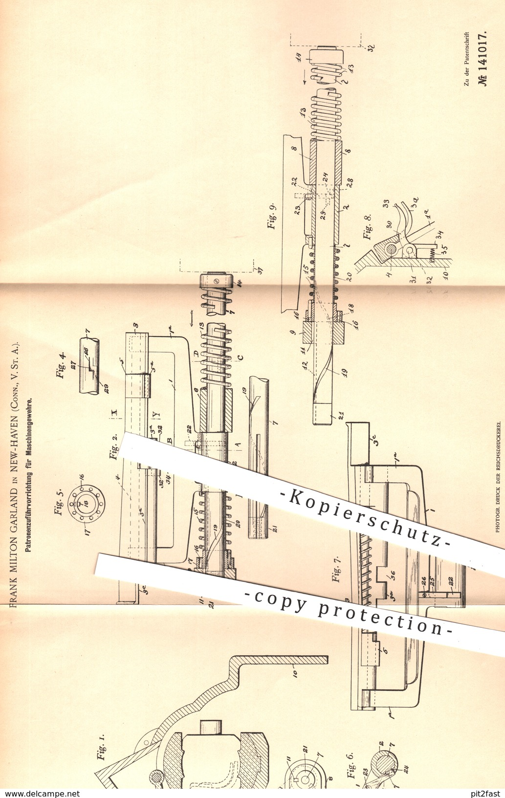 Original Patent - Frank Milton Garland , New Haven USA , 1902 , Zuführung Der Patronen Für Gewehre | Waffen , Militär !! - Historical Documents