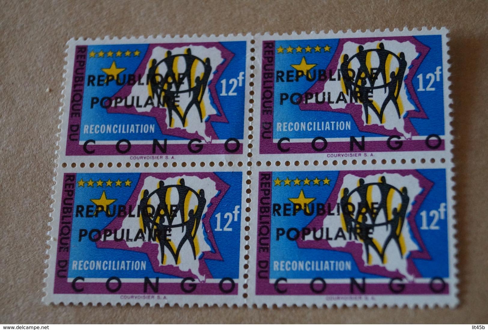 Feuillet De 4 Timbres,république Populaire,12 Fr. ,Réconciliation,Congo,4 Timbres Neuf Avec Gomme,collection. - Congo Belga