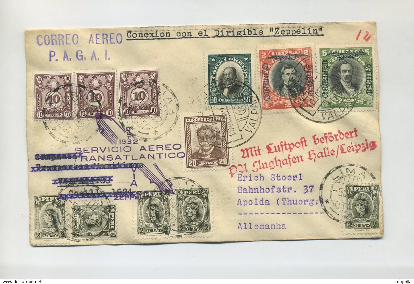 1932 Peru / Chile Zuleitungspost Zeppelinpost Brief Zur 8. Südamerikafahrt Rückfahrt IM SIEGERKAT. UNBEKANNT 193 VAR - Pérou