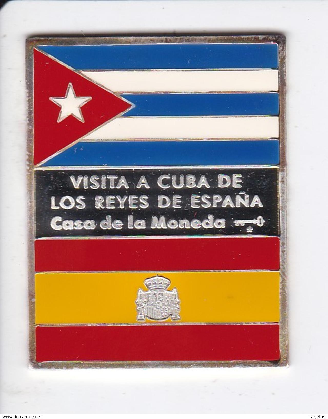 RARA MEDALLA DE PLATA DE CUBA DE LA VISITA A CUBA DE LOS REYES DE ESPAÑA (CASA DE LA MONEDA) BANDERA ESPAÑA Y CUBA - Cuba