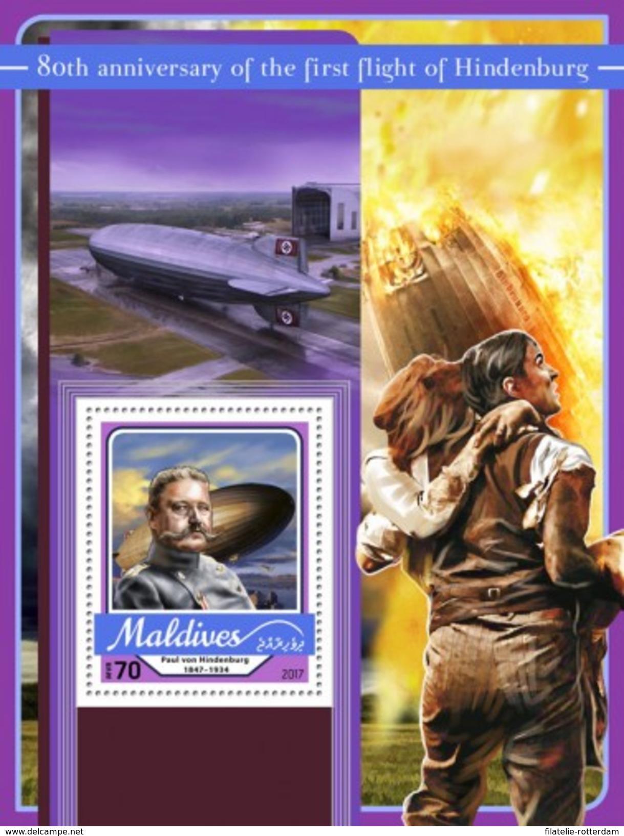 Maldiven / Maldives - Postfris / MNH - Sheet Eerste Vlucht Hindenburg 2017 - Maldiven (1965-...)