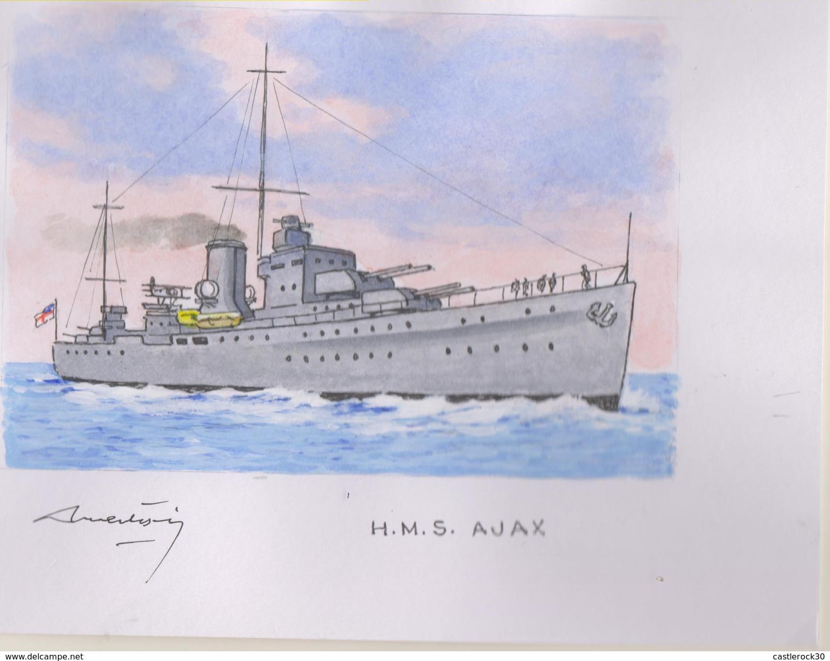 O) 2009 URUGUAY, ORIGINAL ART WORK DESIGNES, ALL OF THE WERE ISSUED ON STAMPS SCOTT 2284, LIGHT CRUISE HMS AJAX, BATALLA - Uruguay