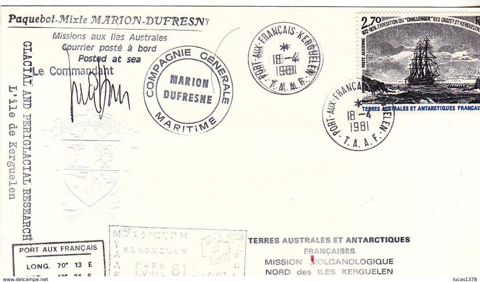 TAAF / PAQUEBOT MIXTE MARION DUFRESNE / MISSION VOLCANOLOGIQUE NORD KERGUELEN / N 53 - Lettres & Documents