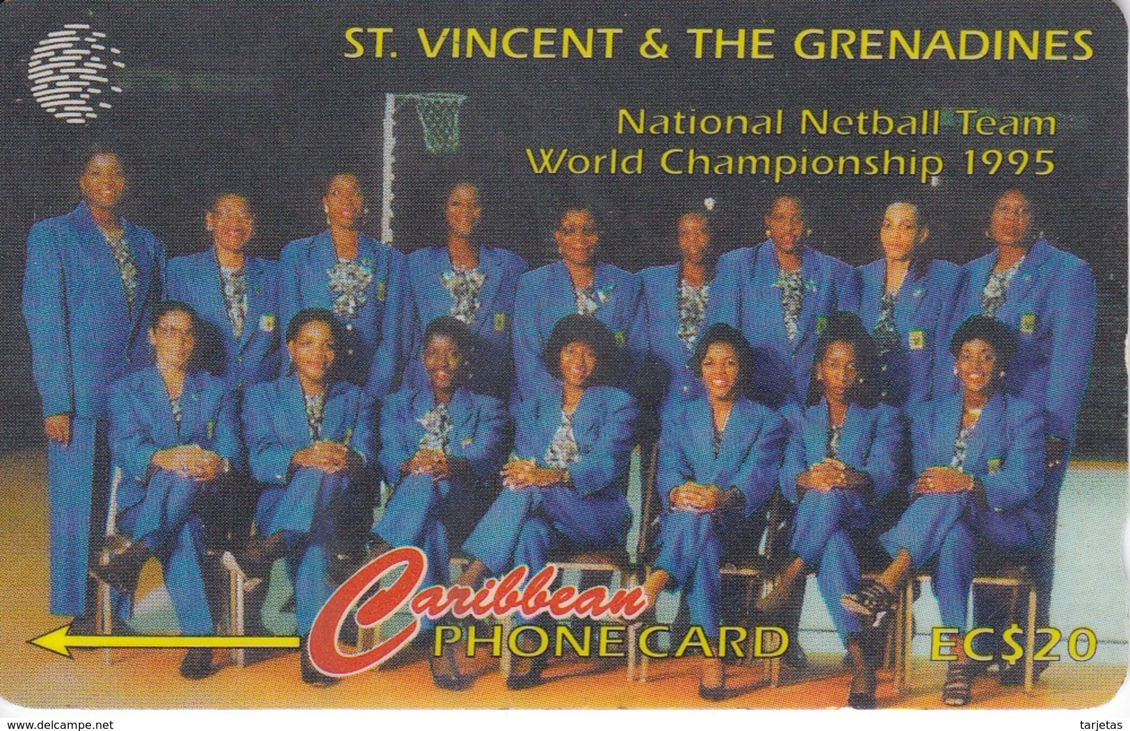 TARJETA DE ST. VINCENT & GRENADINES DE NATIONAL NETBALL TEAM 199SVDB - San Vicente Y Las Granadinas