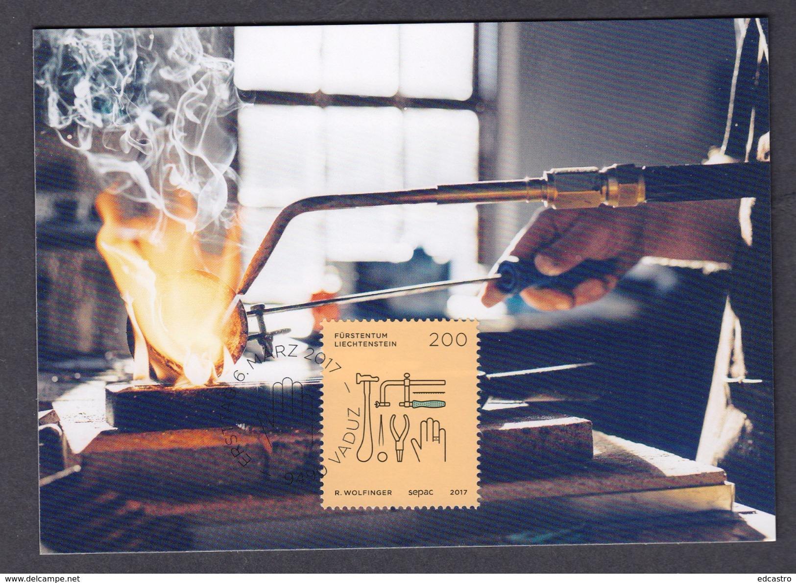 LIECHTENSTEIN 2017 MAXIMUM CARD. SEPAC 2017 - Trades And Crafts  Goldsmith - Profesiones