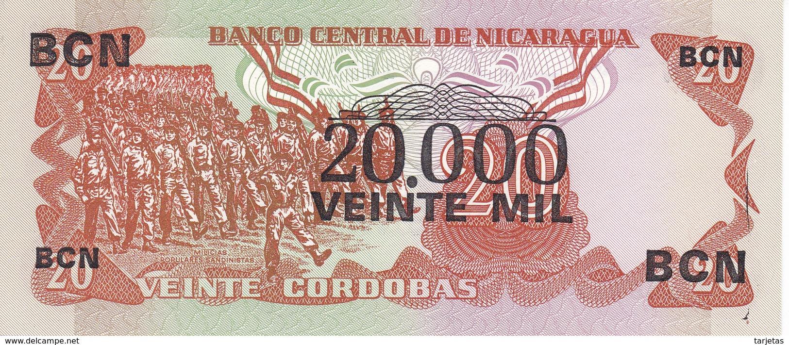 BILLETE DE NICARAGUA DE 20000 CORDOBAS DEL AÑO 1987 CON RESELLO (BANKNOTE) SIN CIRCULAR-UNCIRCULATED - Nicaragua