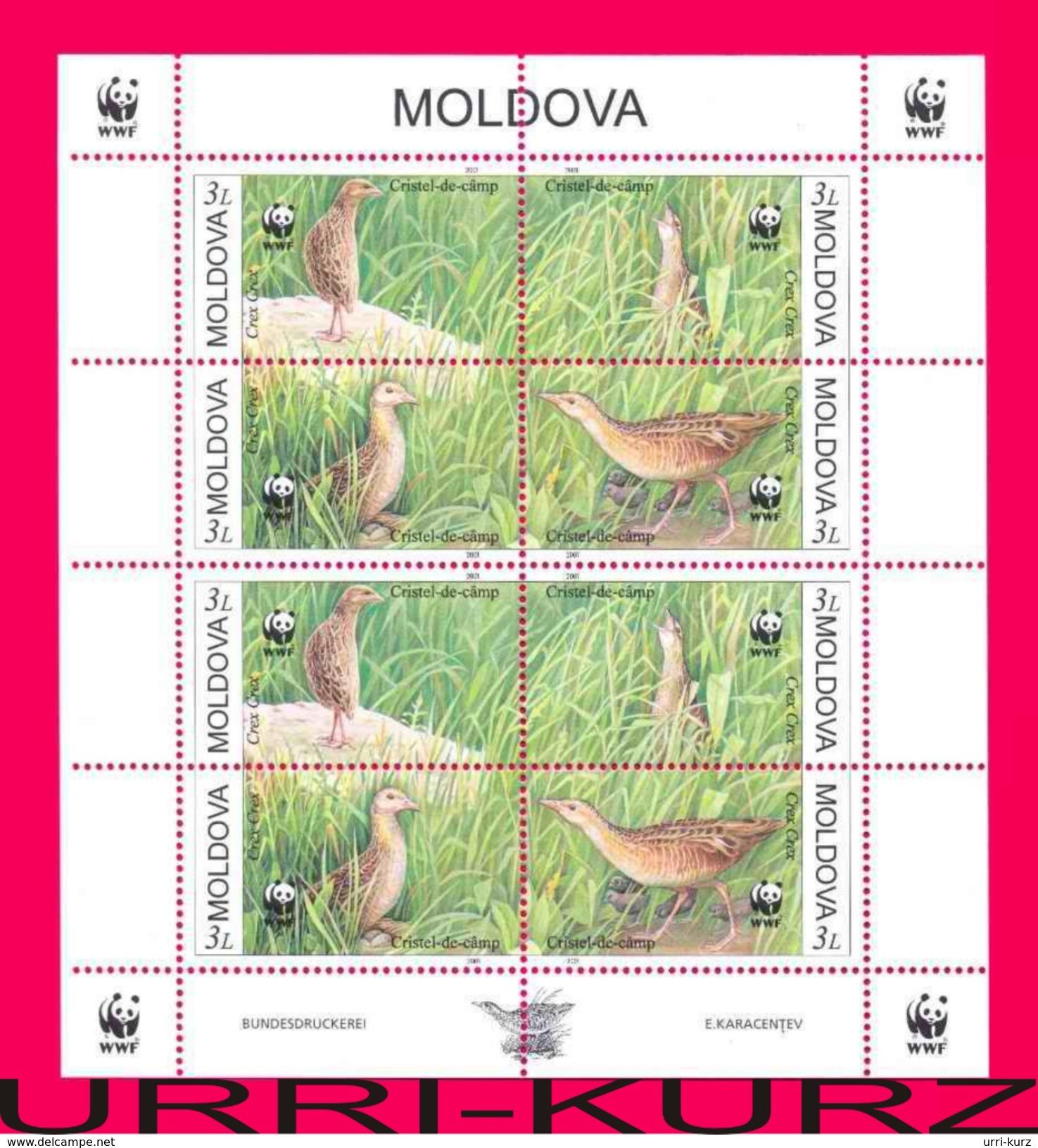 MOLDOVA 2001 Nature Fauna Birds Corncrake (Crex Crex) WWF Sheetlet Mi Klb.379-382 Sc370 MNH - W.W.F.