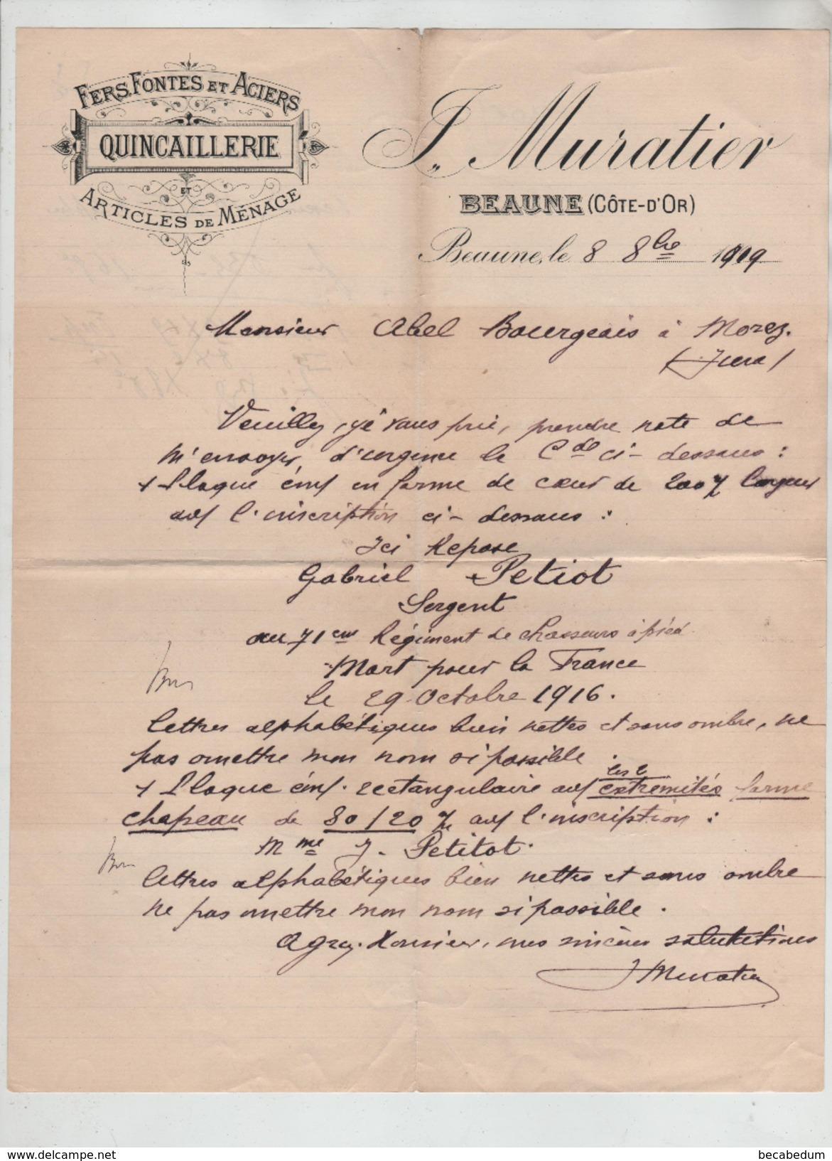 Fers Fontes Quincaillerie Muratier Beaune 1919 Petiot Sergent 71 ème Régiment Chasseurs à Pied - 1914-18