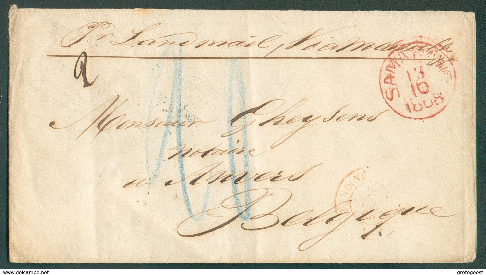 Enveloppe De SAMARANG 13/10 1868 Vers Anvers (Belgique) Manuscrit 'Pr Landmail Via Marseille', Verso : Griffe Rouge JAPA - Netherlands Indies
