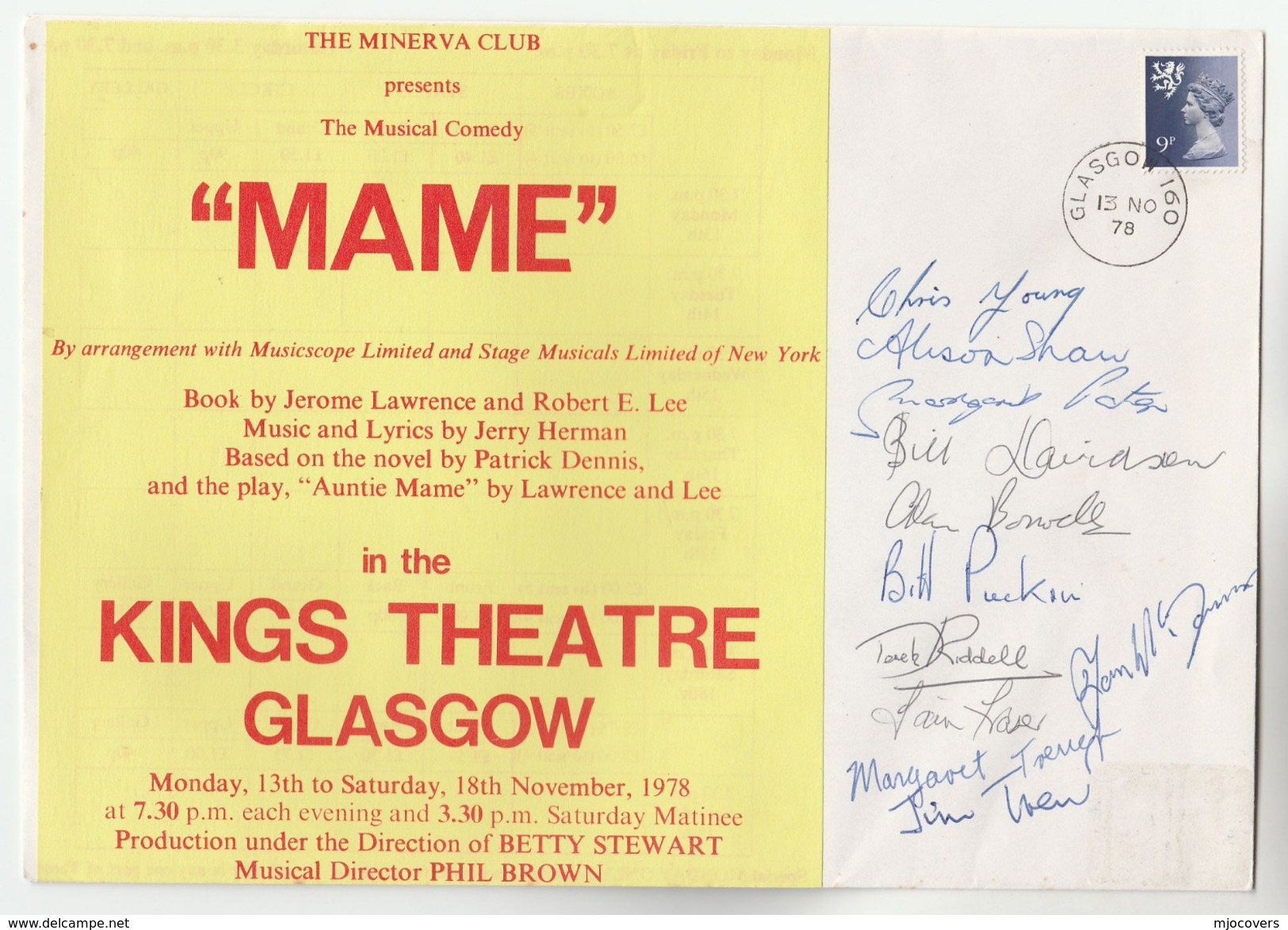 1978 SIGNED By 11, KINGS THEATRE MAME Musical GLASGOW EVENT COVER Gb Stamps Music - Music