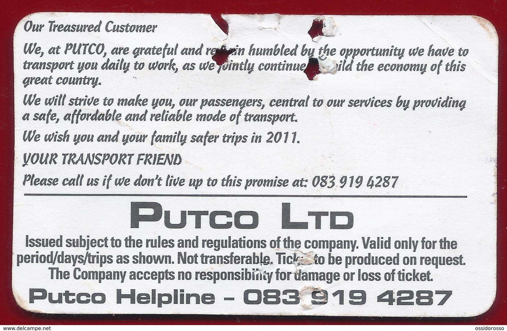 2016 - Ticket Autobus - PUTCO -  Pretoria -  South Africa - Mondo