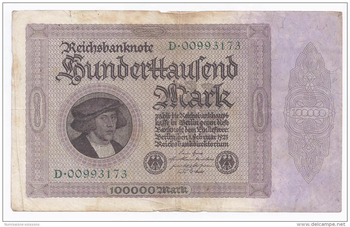 GERMANY - 100 000 MARK - 1.02.1923 -  BEAU A TRES BEAU - PICK 83 A - [ 3] 1918-1933 : Weimar Republic