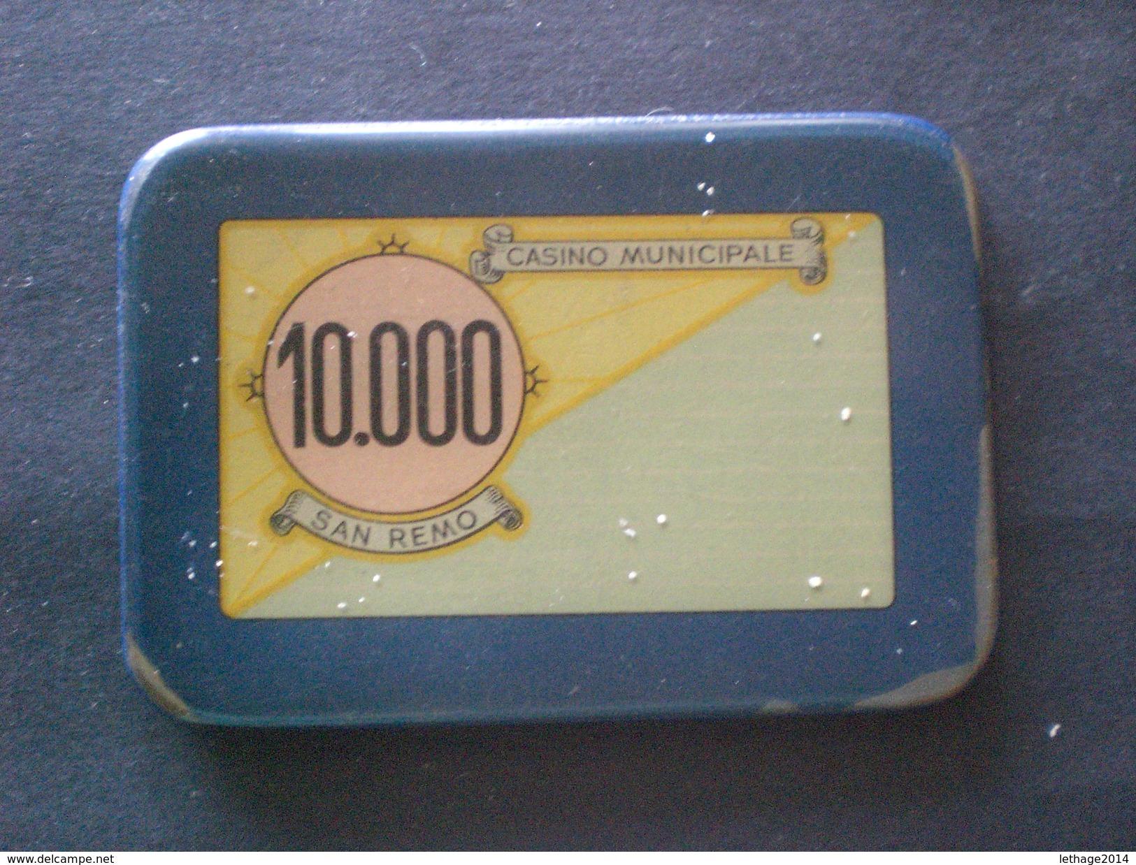 CHIPS FISH FICHES JETTON CASINO SANREMO ANNI 60 DA 10000 LIRE - Casino