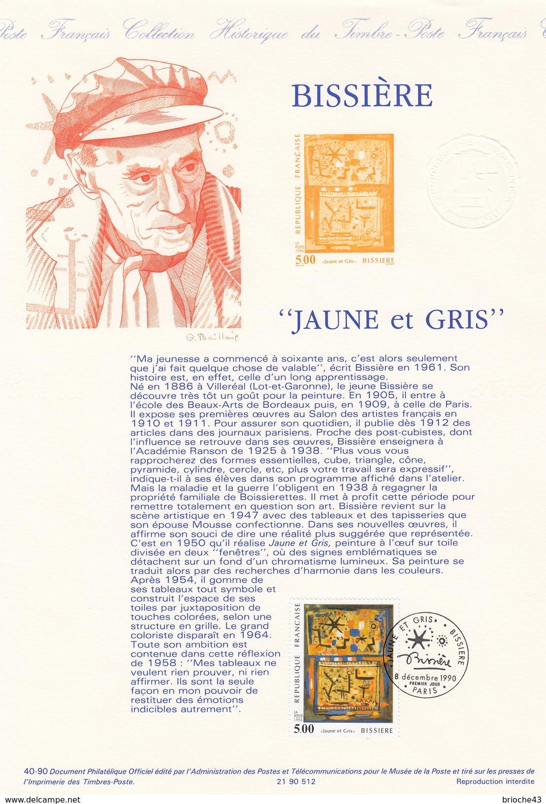 """FRANCE 1990- TIMBRE 5.00 BISSIERE """"JAUNE ET GRIS""""- OBLITERATION PREMIER JOUR 8.12.1990 SUR DOC. DE LA POSTE - Gebraucht"""