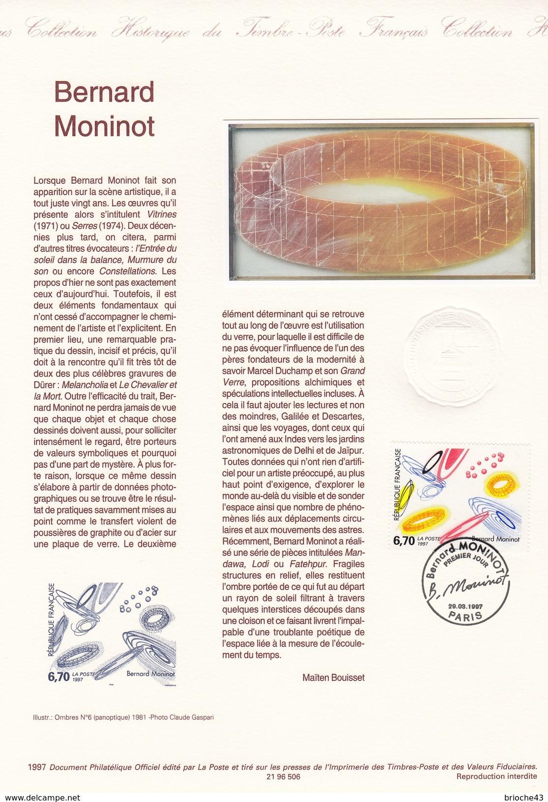 FRANCE 1997- TIMBRE 6.70 BERNARD MONINOT - OBLITERATION PREMIER JOUR 29.03.97 SUR DOC. DE LA POSTE - Gebraucht