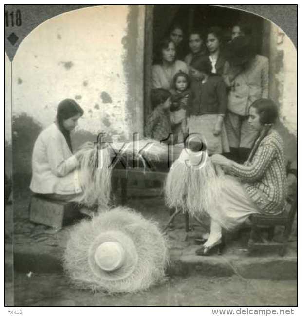 Ecuador ~ TABACUNDA Women Weaving Panama Hats Jipijapas Stereoview 21941 118 Fx - Fotos