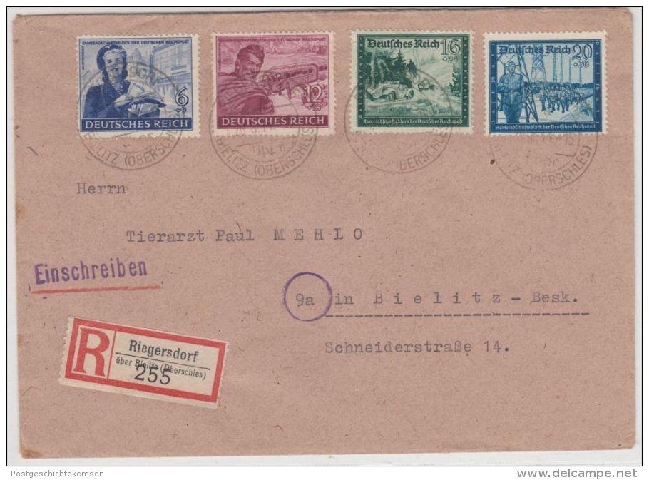 DR - Riegersdorf ü. Bielitz, Poststelle I, Einschreibebrief N. Bielitz 1944 - Deutschland