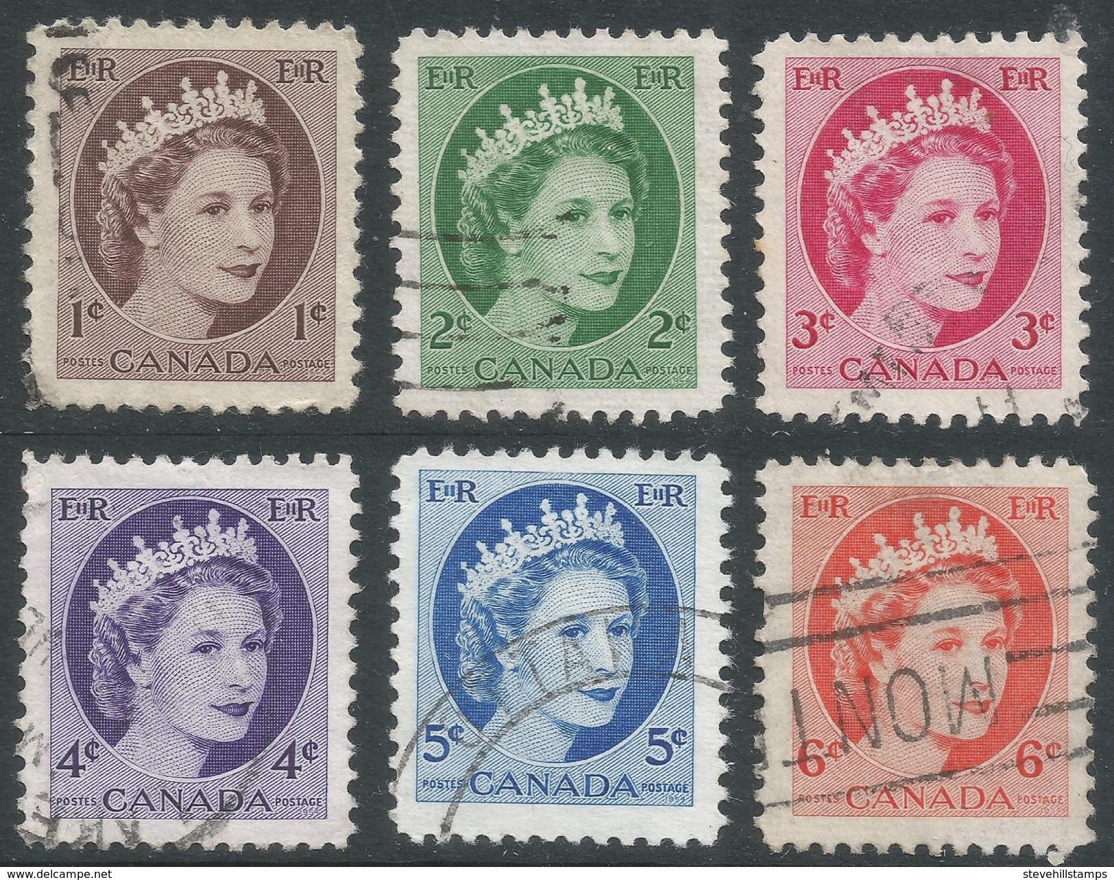 Canada. 1954-62 Queen Elizabeth II. Used Complete Set (Sheet Stamps). SG 463-468 - 1952-.... Reign Of Elizabeth II